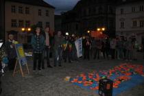 Kundgebung Seebrücke mit Teilnehmern verschiedener NGO's und Parteien